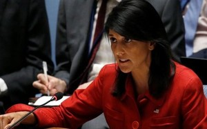 Đại sứ Mỹ Nikki Haley trong cuộc họp của Hội đồng Bảo an Liên Hiệp Quốc về tình hình Triều Tiên ở New York (Mỹ) - Ảnh: Reuters
