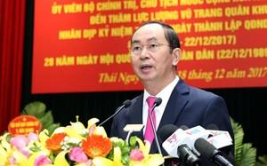 Chủ tịch nước Trần Đại Quang phát biểu tại buổi làm việc. Ảnh QĐND