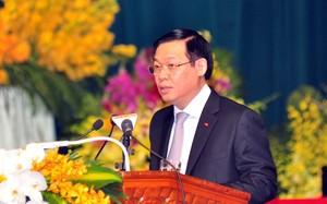 Thay mặt lãnh đạo Đảng, Nhà nước, Phó Thủ tướng Vương Đình Huệ chúc Đại hội đại biểu Phật giáo toàn quốc lần thứ VIII, nhiệm kỳ 2017-2022 thành công tốt đẹp. Ảnh VGP/Thành Chung