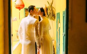Trang Trần hạnh phúc cùng ông xã Việt kiều trong bộ ảnh kỷ niệm