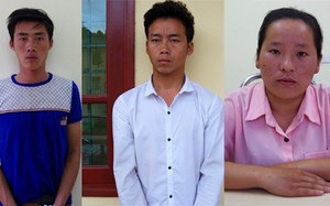 Ba đối tượng Sàng, Trang, Tùng tại cơ quan điều tra.