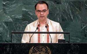 Ngoại trưởng Philippines tại phiên họp của Liên Hợp Quốc ở New York. Ảnh: Philstar.