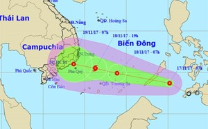 Dự báo đường đi và khu vực ảnh hưởng của áp thấp nhiệt đới. Ảnh:NCHMF