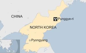 Vị trí bãi thử hạt nhân Triều Tiên. Đồ hoạ: BBC