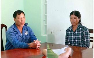 Vợ chồng bị can Nguyễn Văn Thu và Vũ Thị Mây tại cơ quan công an.
