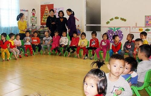 Lớp mẫu giáo 4 tuổi nơi bé gái bị bạn đánh. Ảnh: Báo Bắc Giang