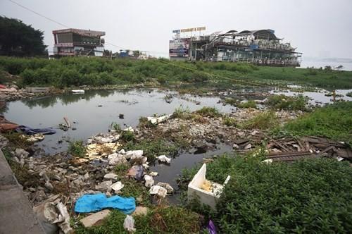 Hồ Tây hôi thối, ngập rác sau khi tháo dỡ nhà hàng nổi - ảnh 2