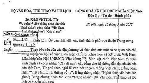 Chủ tịch Liên hiệp các Hội UNESCO Việt Nam: Văn bản của Bộ VH-TT-DL có nhiều sai sót  - ảnh 1