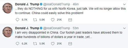 Trump 'thất vọng' về Trung Quốc trong vấn đề Triều Tiên - ảnh 1