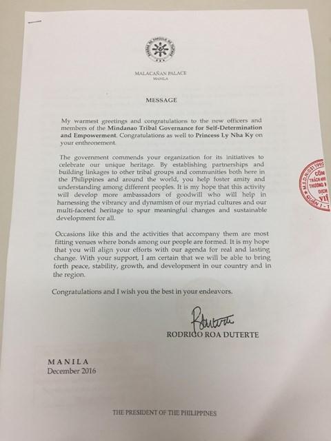 Tổng thống Philippines gửi thư chúc mừng Lý Nhã Kỳ được sắc phong 'Công chúa châu Á' - ảnh 1