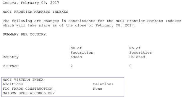 Duy nhất 2 cổ phiếu Việt Nam vào rổ MSCI Frontier Markets Index - ảnh 1