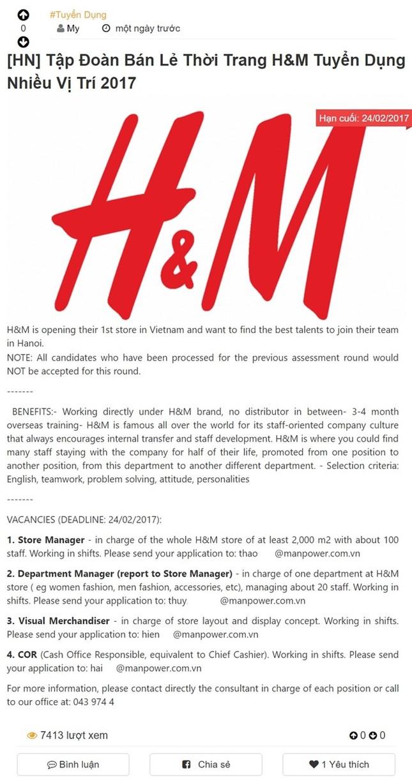 H&M mở cửa hàng đầu tiên rộng 2.000 m2 ở Hà Nội? - ảnh 1