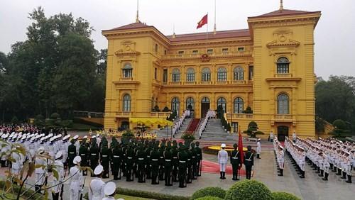 Chủ tịch nước chủ trì lễ đón Nhà vua và Hoàng hậu Nhật Bản - ảnh 1
