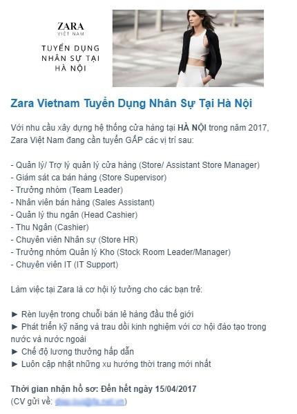 Zara gấp rút tuyển dụng, chuẩn bị mở cửa hàng đầu tiên tại Hà Nội? - ảnh 1