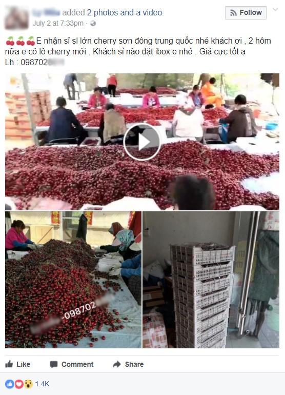 Cherry Trung Quốc giá 120.000 đồng một kg tràn ngập chợ mạng - ảnh 1