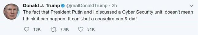 Tổng thống Trump rút tuyên bố hợp tác an ninh mạng với Nga - ảnh 1