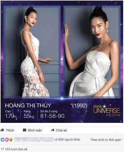 Chỉ trong 24 tiếng, Hoàng Thùy dẫn đầu bình chọn Hoa hậu Hoàn vũ - ảnh 1