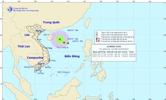 Xuất hiện áp thấp nhiệt đới trên Biển Đông - ảnh 1