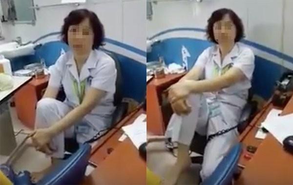 Nữ bác sĩ gác chân lên ghế tại BV Mắt bị xử lý - ảnh 1