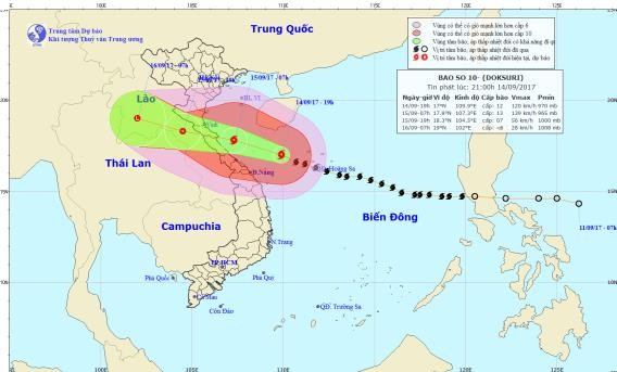 Chiều mai bão số 10 sẽ đổ bộ vào Nghệ An-Hà Tĩnh - ảnh 1