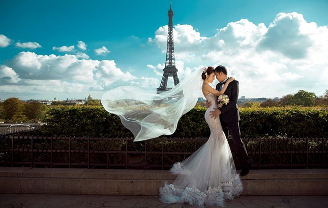 Ngọc Duyên khoe ảnh cưới lãng mạn ở Paris - ảnh 1