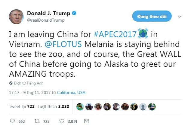 Tổng thống Trump đăng Twitter, thông báo sắp tới Việt Nam - ảnh 1