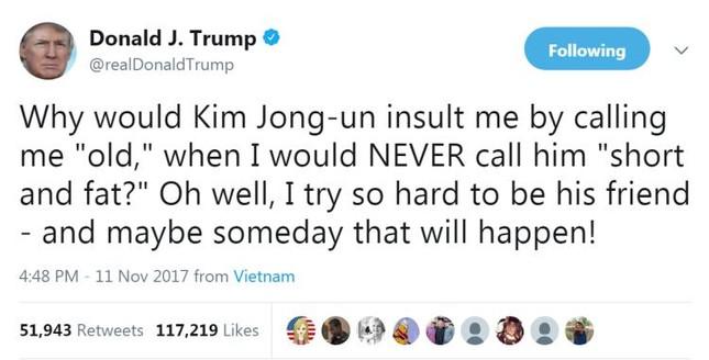 Bị gọi là 'ông già', Tổng thống Trump tố chủ tịch Kim xúc phạm - ảnh 2