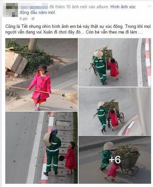 Bé cùng mẹ quét rác ngày Tết khiến cộng đồng mạng xúc động - ảnh 1