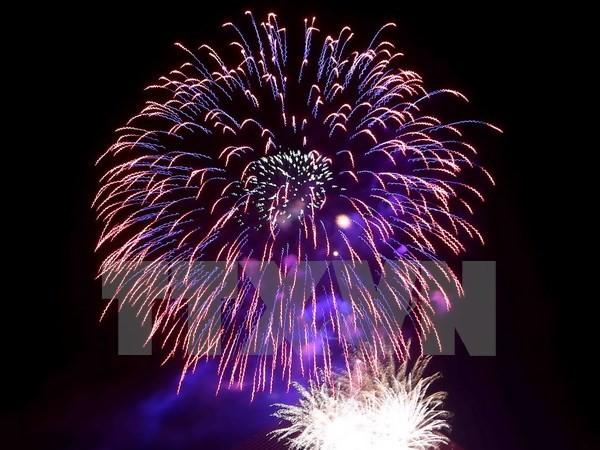 Bắn pháo hoa trong đêm khai mạc Lễ hội Hoa Ban ở Điện Biên - ảnh 1