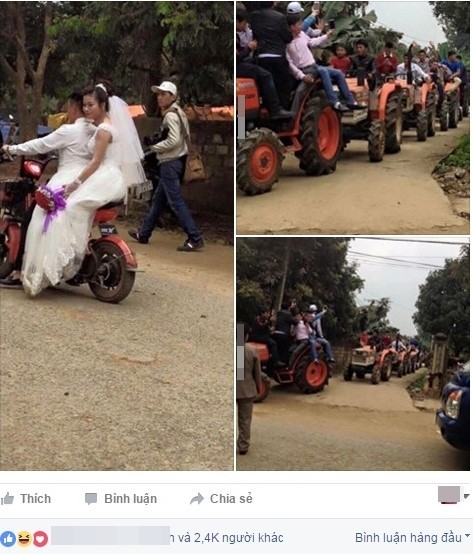 Dân mạng thích thú với màn rước dâu bằng 22 chiếc máy cày - ảnh 1