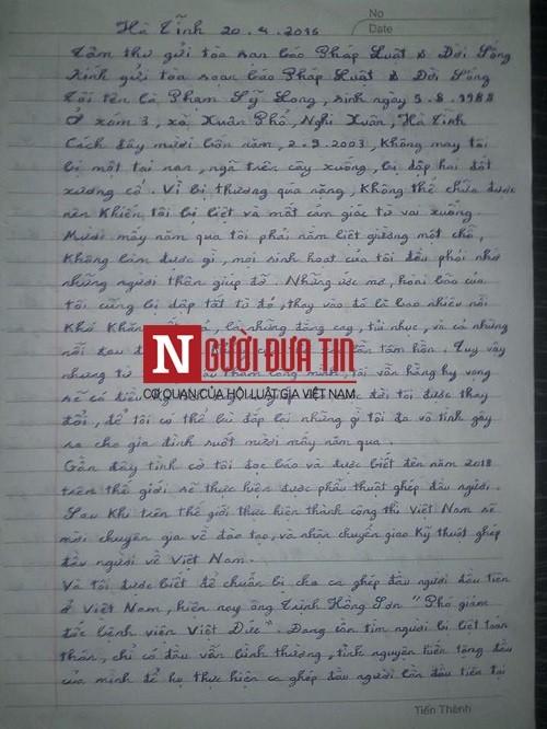 Tâm thư viết bằng miệng xin được hiến đầu của chàng trai tàn tật  - ảnh 2