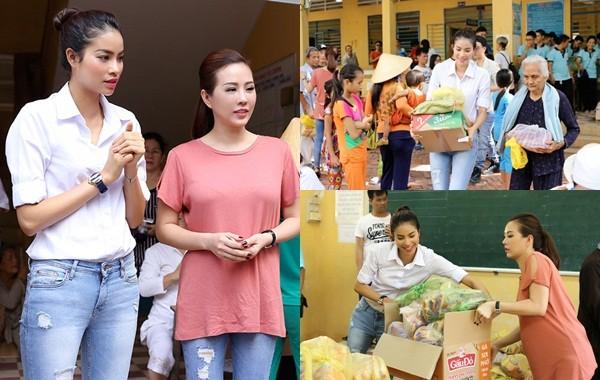 Hoa hậu Thu Hoài, Phạm Hương bê gạo, thuốc... tặng người nghèo - ảnh 1