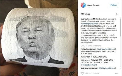 Công ty Trung Quốc kiếm bộn từ giấy vệ sinh Donald Trump - ảnh 2