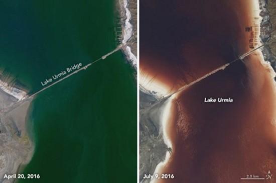 Hồ nước mặn Iran chuyển màu đỏ như máu - ảnh 1