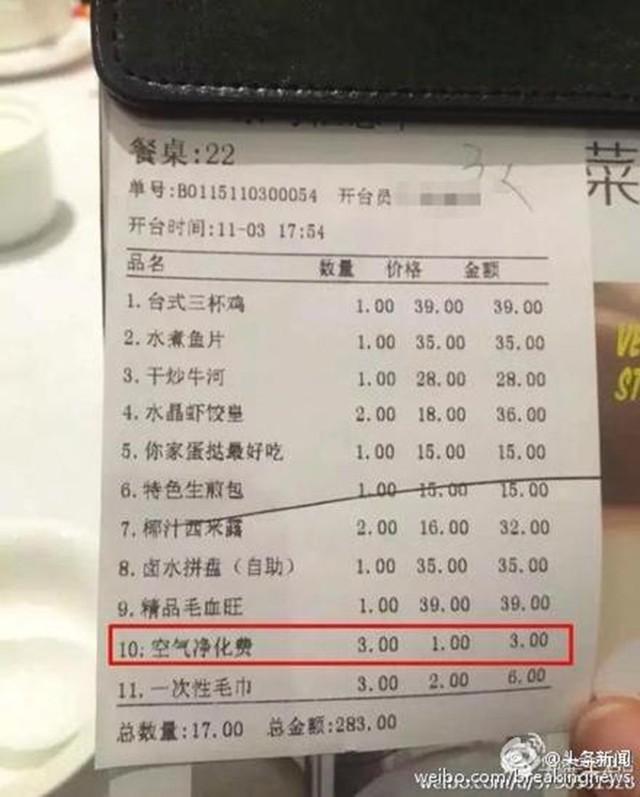 Thực khách Trung Quốc bức xúc vì thở cũng bị tính phí - ảnh 1