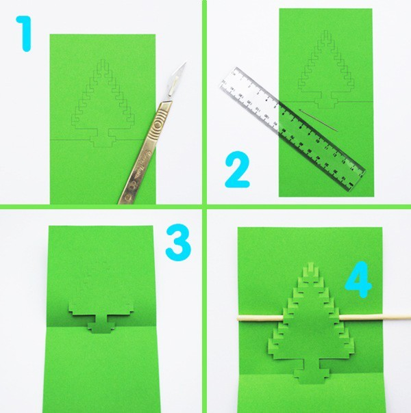 Cách làm 4 mẫu thiệp giáng sinh hình cây thông siêu dễ thương  - ảnh 6