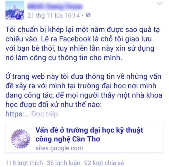 Tin mới nhất vụ giảng viên bị kỷ luật vì chê trường trên Facebook - ảnh 1