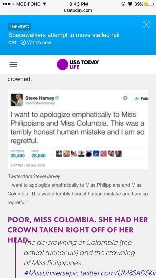 Tiết lộ lý do MC đọc nhầm kết quả Hoa hậu Hoàn vũ 2015 - ảnh 2