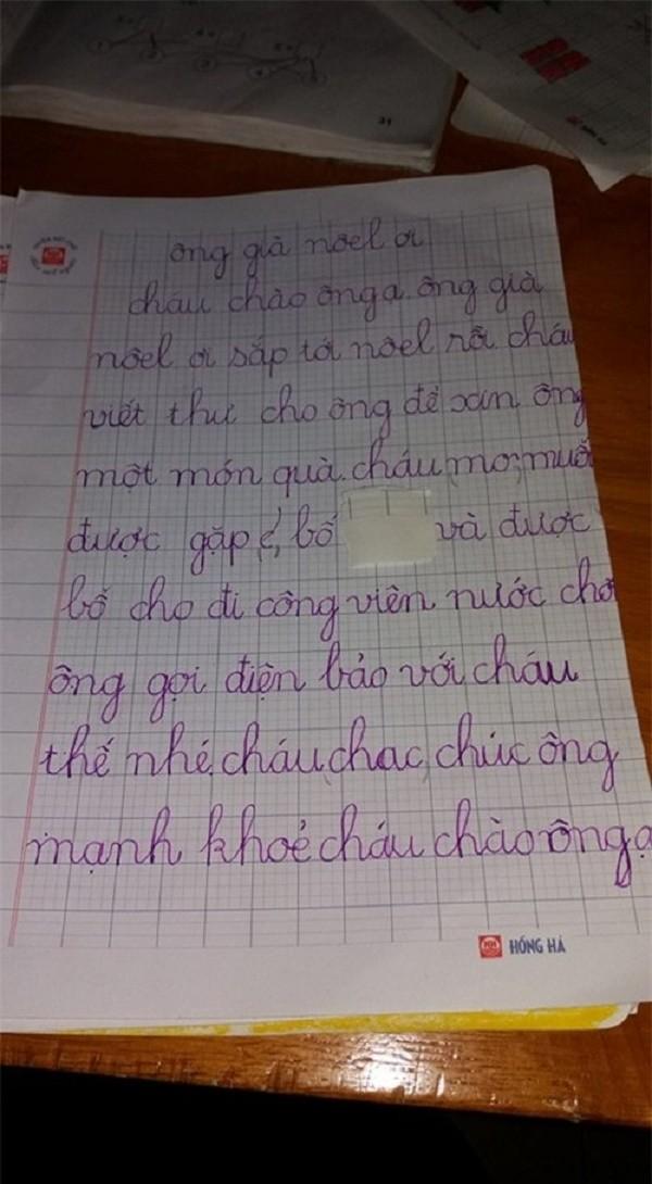 Rơi nước mắt với bức thư của bé lớp 1 mồ côi cha gửi ông già Noel - ảnh 1