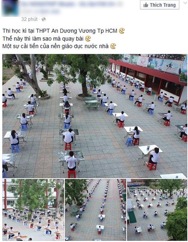 Học sinh TP HCM ngồi thi ở sân trường để chống gian lận