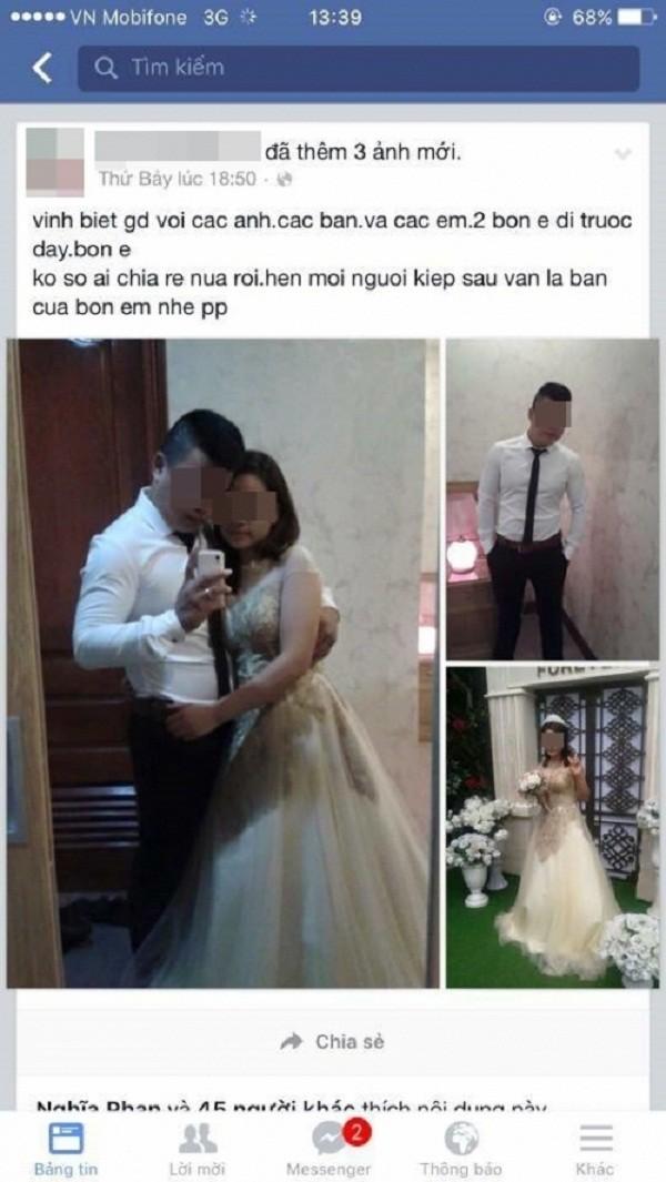 Cặp đôi mặc áo cưới tự tử trong nhà nghỉ: 'Chú rể' đã tử vong - ảnh 1