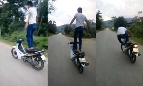 Phạt hơn 7 triệu đồng nam thanh niên đứng trên xe máy lái xe - ảnh 2