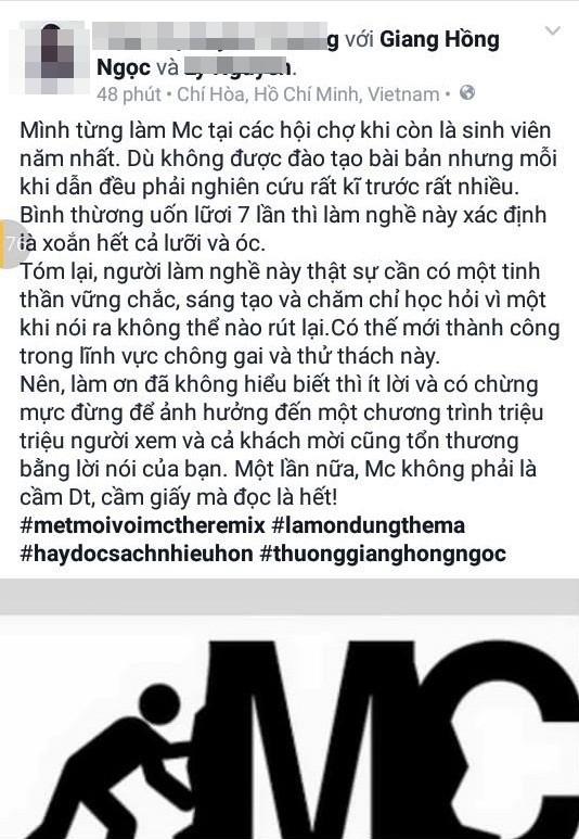 Giang Hồng Ngọc bức xúc khi bị MC Thành Trung 'phân biệt đối xử' - ảnh 3