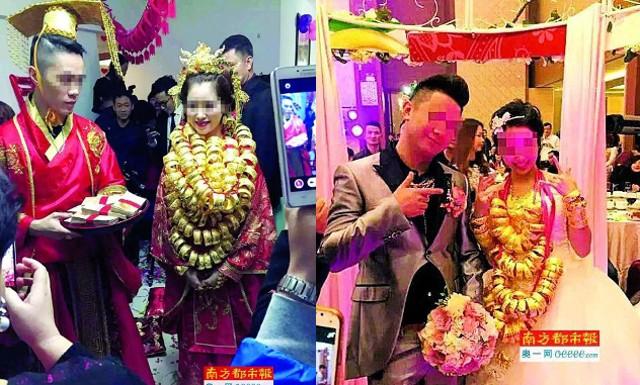 Trung Quốc: 'Hoảng hồn' vì cô dâu đeo trĩu vàng trong lễ cưới - ảnh 1