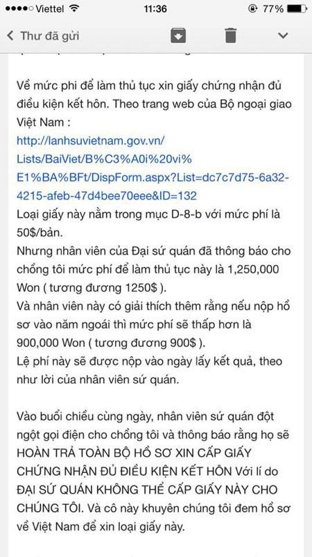 ĐSQ VN tại Hàn Quốc thông báo phí đăng ký kết hôn chênh 1000 USD? - ảnh 3