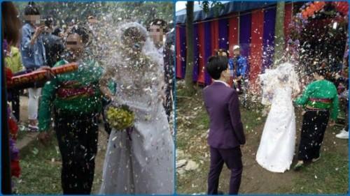 Đắng lòng cô dâu bị bạn gái chú rể bắn pháo giấy vào mặt - ảnh 1