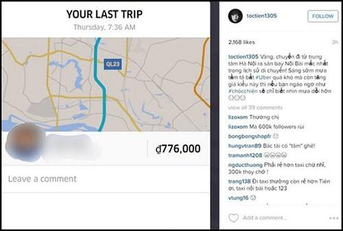 Tóc Tiên bức xúc với hóa đơn hơn 700 nghìn của Uber - ảnh 1