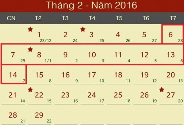 Lịch nghỉ Tết Nguyên đán Bính Thân 2016 gồm 9 ngày - ảnh 1
