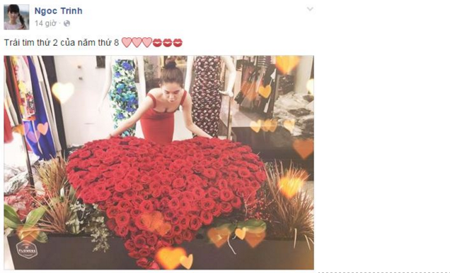 Ngọc Trinh khoe được bạn trai đại gia tặng bó hoa hồng khổng lồ - ảnh 1