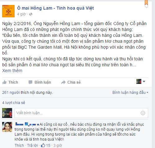 Ô mai Hồng Lam chính thức xin lỗi khách hàng - ảnh 1